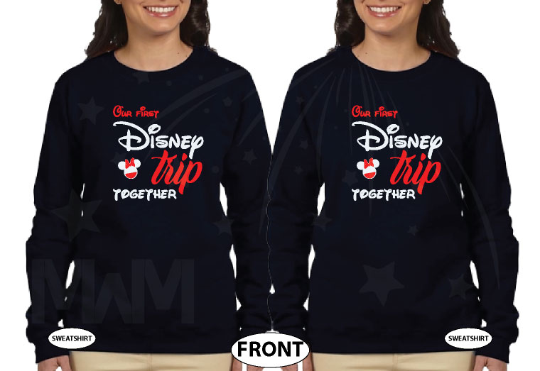 LGBTQ matching Lesbians Disney couple shirts with mini Minnie Mouse cute kiss and Our first Disney trip together disneymoon honeymoon tanks, married with mickey, matching black ladies sweaters