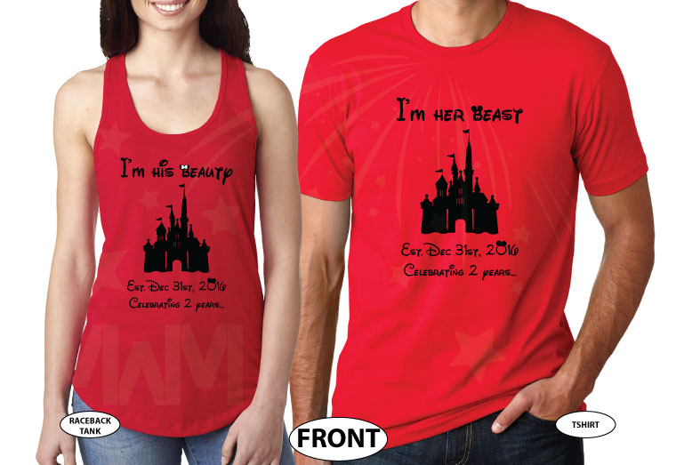 Together Since Mickey and Minnie Mouse I'm her beast I'm his beauty Disney Castle Wedding Date, Celebrating 2 years, married with mickey, red matching t-shirts