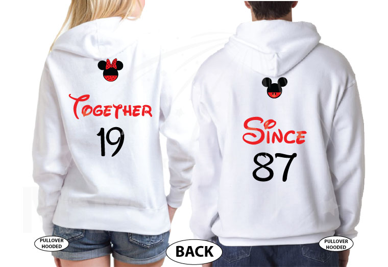 Together Since Mickey and Minnie Mouse I'm her beast I'm his beauty Disney Castle Wedding Date, Celebrating 2 years, married with mickey, white unisex hoodies matching