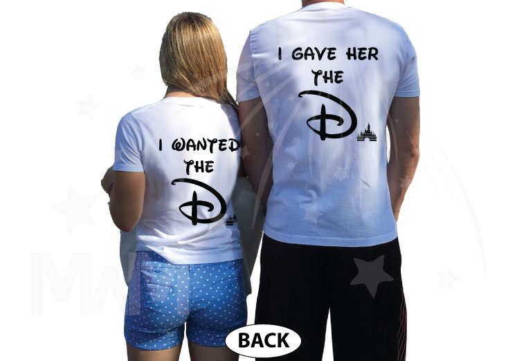 Disney park inspired I wanted the D I gave her D She wants D funny cool matching couple shirts with Mickey and Minnie Mouse in pockets etsy, married with mickey, white matching t-shirts