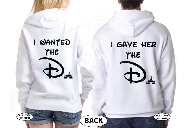 Disney park inspired I wanted the D I gave her D She wants D funny cool matching couple shirts with Mickey and Minnie Mouse in pockets etsy, married with mickey, white matching hoodies