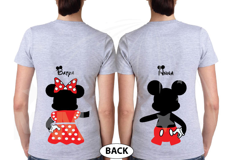 Great gift idea for anniversary LGBTQ Lesbian matching couple shirts future Mrs with Mickey and Minnie Mouse with cute red bow holding hands, married with mickey, grey ladies tshirts