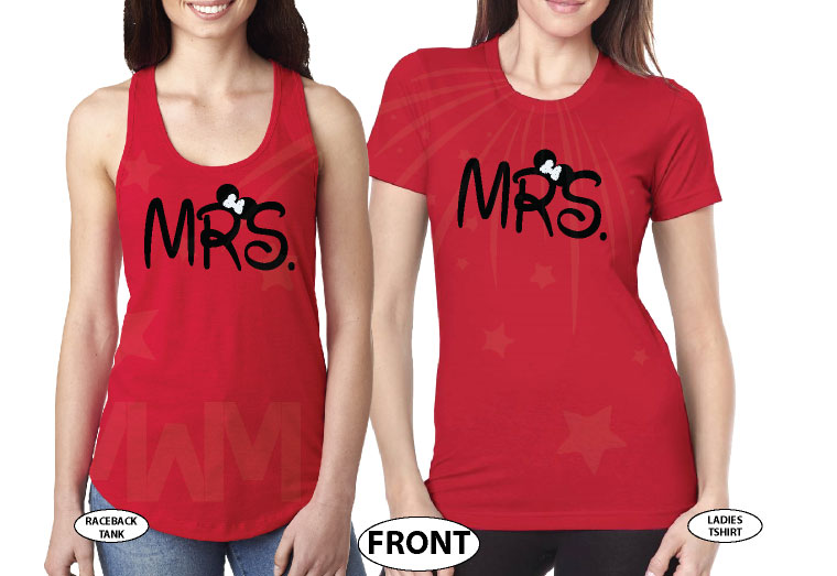 Great gift idea for anniversary LGBTQ Lesbian matching couple shirts future Mrs with Mickey and Minnie Mouse with cute red bow holding hands, married with mickey, red mix and match tee and tank