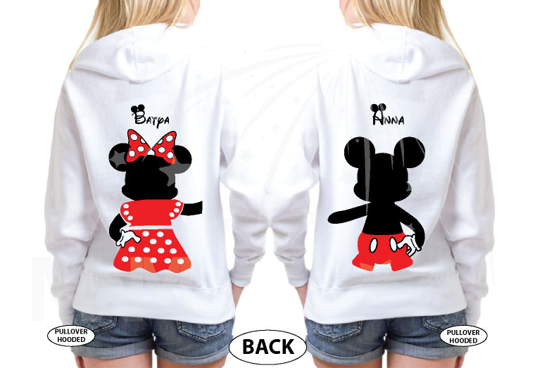 Great gift idea for anniversary LGBTQ Lesbian matching couple shirts future Mrs with Mickey and Minnie Mouse with cute red bow holding hands, married with mickey, white unisex hoodies