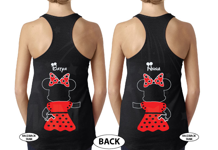 Great gift idea for anniversary LGBTQ Lesbian matching couple shirts future Mrs with Mickey and Minnie Mouse with cute red bow holding hands, married with mickey, black ladies tank tops