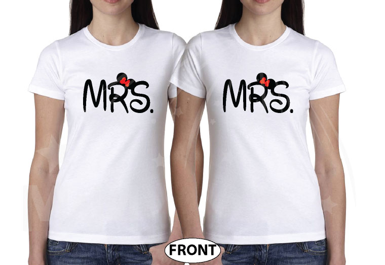 Great gift idea for anniversary LGBTQ Lesbian matching couple shirts future Mrs with Mickey and Minnie Mouse with cute red bow holding hands, married with mickey, white ladies t-shirts