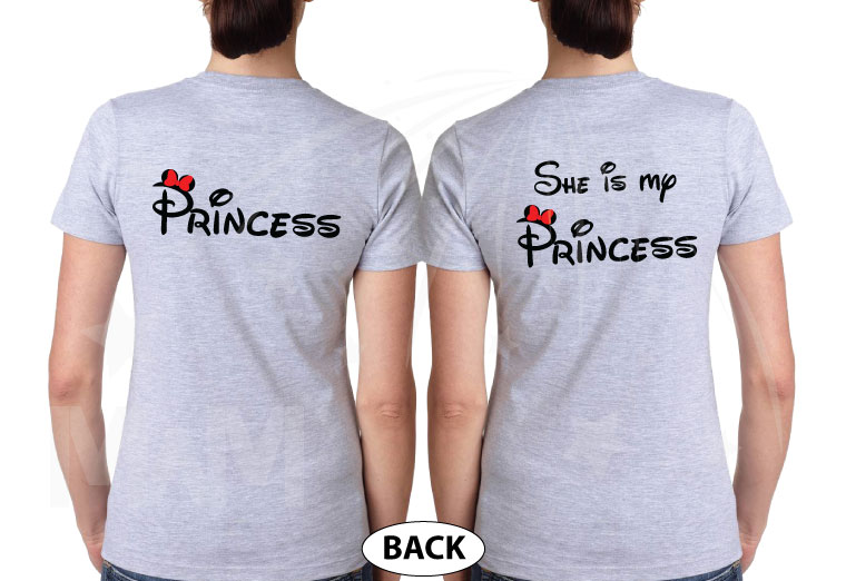 LGBTQ Lesbian matching shrits for Princess and She's my Princess, married with mickey, grey ladies tees