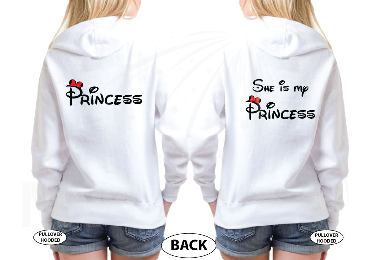 LGBTQ Lesbian matching shrits for Princess and She's my Princess, married with mickey, white unisex pullover hoodies