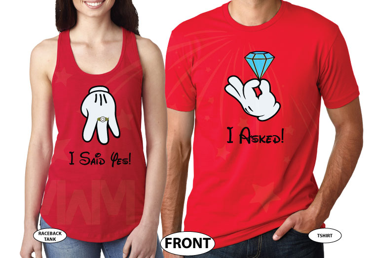 Cutest proposal shirts, I asked She said Yes! with awesome diamond ring Mickey and Minnie Mouse hands Disney inspired for future Mr Mrs etsy, married with mickey, mix and match red ladies tank top and mens tee