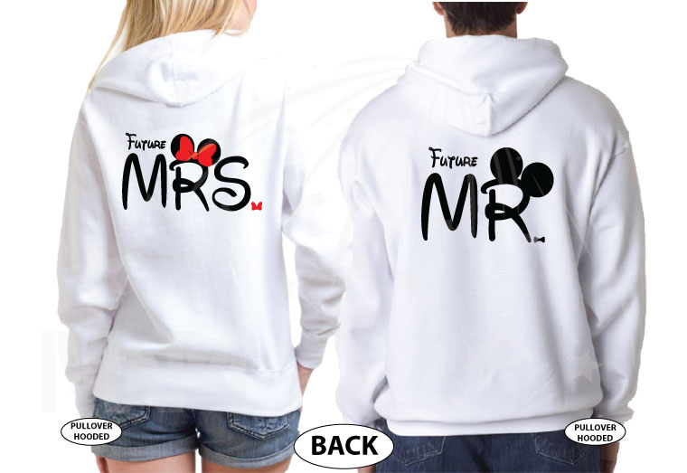 Cutest proposal shirts, I asked She said Yes! with awesome diamond ring Mickey and Minnie Mouse hands Disney inspired for future Mr Mrs etsy, married with mickey, matching white pullover hoodies