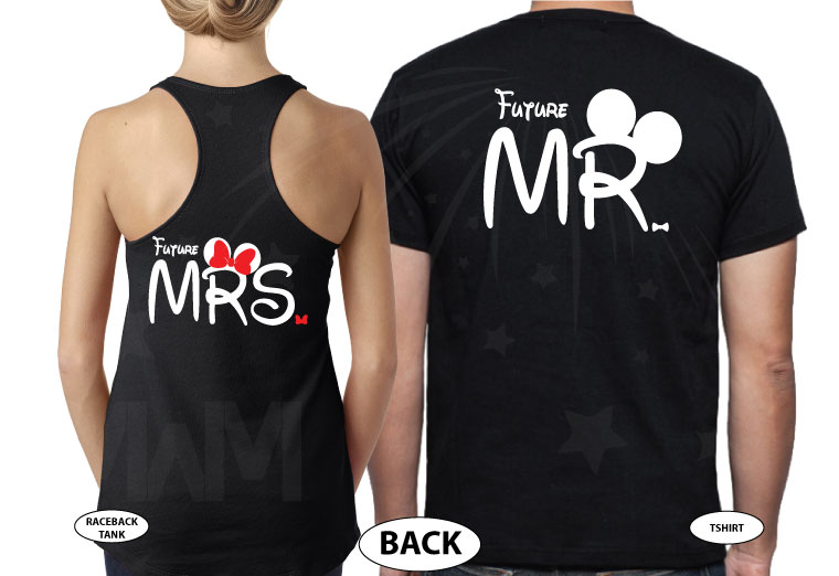 Cutest proposal shirts, I asked She said Yes! with awesome diamond ring Mickey and Minnie Mouse hands Disney inspired for future Mr Mrs etsy, married with mickey, mix and match black ladies tank top and mens tee