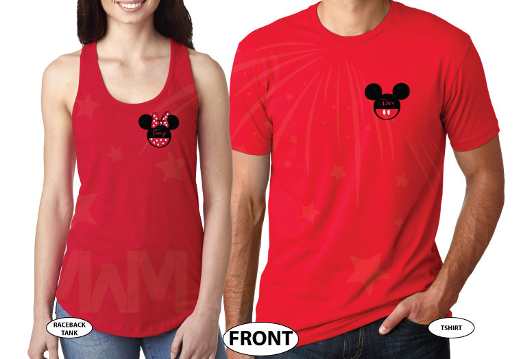 Cute matching couple shirts Celebrating Our Anniversary at Disney Mickey Minnie Mouse Kissing and names etsy store plus size 5XL sweaters, married with mickey, red mix and match ladies tank and mens tee