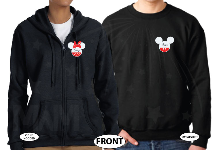 Cute matching couple shirts Celebrating Our Anniversary at Disney Mickey Minnie Mouse Kissing and names etsy store plus size 5XL sweaters, married with mickey, black mix and match sweater and zip up hoodie