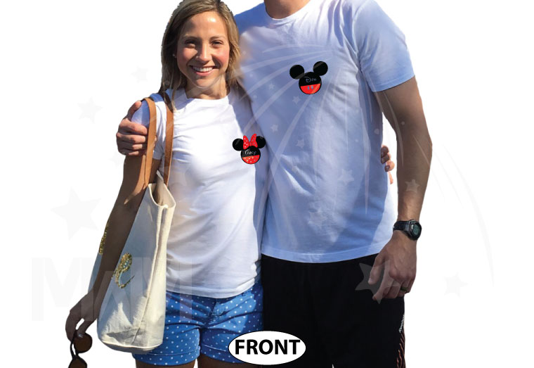 Cute matching couple shirts Celebrating Our Anniversary at Disney Mickey Minnie Mouse Kissing and names etsy store plus size 5XL sweaters, married with mickey, white matching tees