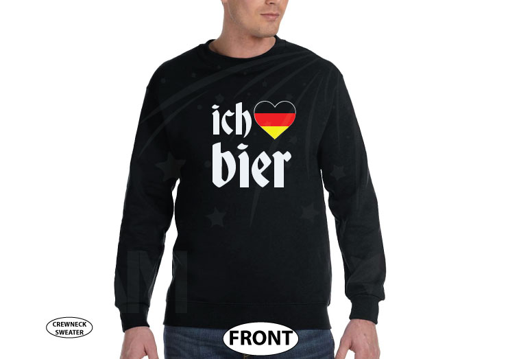 ich heart bier love beer with german flag, married with mickey etsy, black unisex sweatshirt