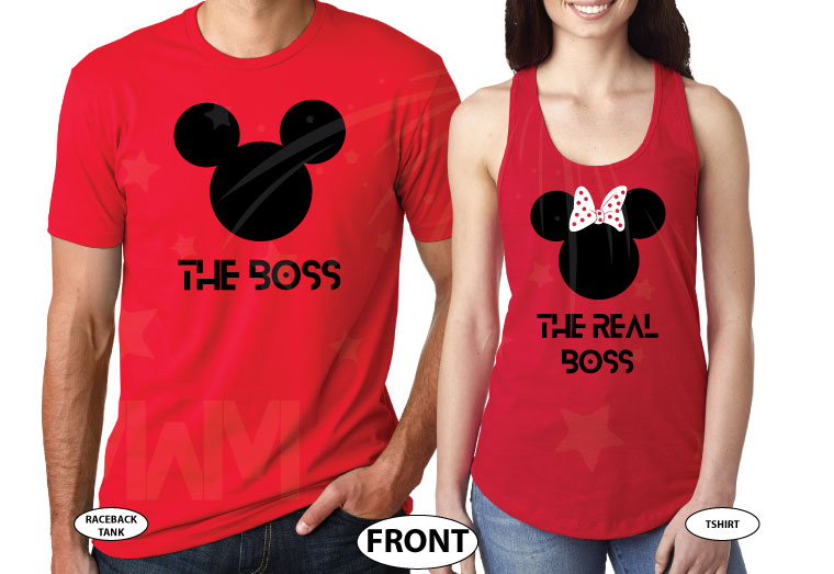 The Boss Real Boss matching couple shirts with Mickey and Minnie Mouse Disney universe walmart target forever 21 etsy store kohls orlando, married with mickey, red matching tee and tank top