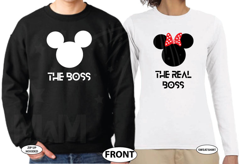 The Boss Real Boss matching couple shirts with Mickey and Minnie Mouse Disney universe walmart target forever 21 etsy store kohls orlando, married with mickey, white ladies long sleeve tee and black mens sweater