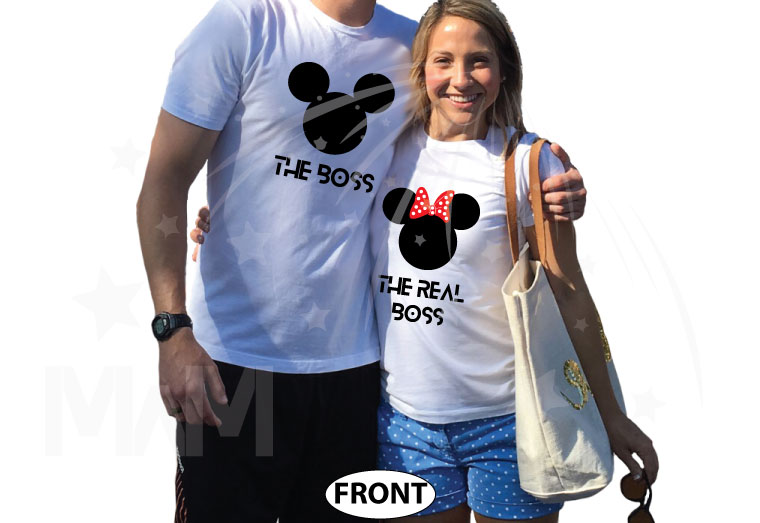 The Boss Real Boss matching couple shirts with Mickey and Minnie Mouse Disney universe walmart target forever 21 etsy store kohls orlando, married with mickey, white tees