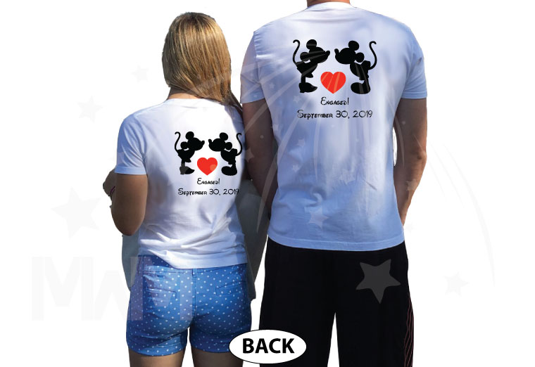 Adorable Kissing Mickey Minnie Mouse Engaged with custom date, married with mickey etsy shop, matching white tees