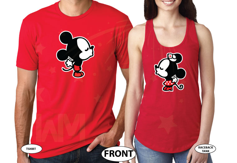 Adorable Kissing Mickey Minnie Mouse Engaged with custom date, married with mickey etsy shop, mix and match red tank top and tshirt