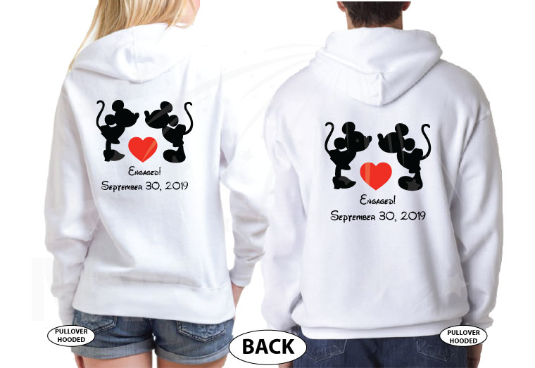 Adorable Kissing Mickey Minnie Mouse Engaged with custom date, married with mickey etsy shop, matching white hoodies