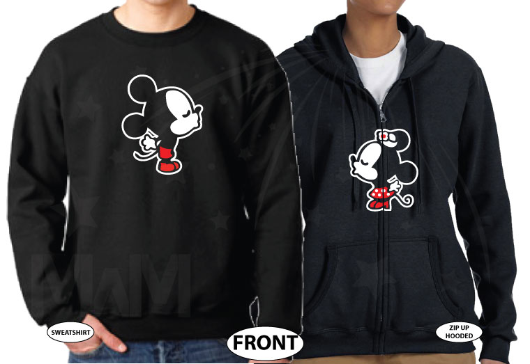 Adorable Kissing Mickey Minnie Mouse Engaged with custom date, married with mickey etsy shop, matching black sweaters