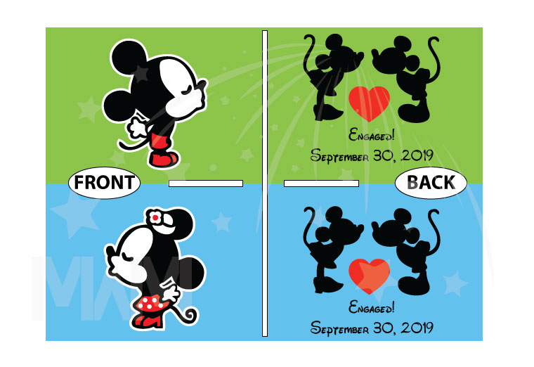 Adorable Kissing Mickey Minnie Mouse Engaged with custom date, married with mickey etsy shop
