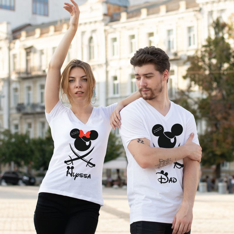 400046 Mickey Minnie Mouse Pirate Matching Shirts, With Custom Names and Year, white matching t-shirts