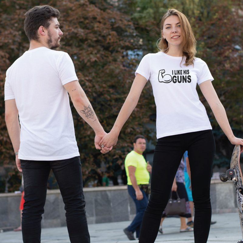 400059 I Like His Guns, I Like Her Buns Matching Couple Shirts, white matching tshirts