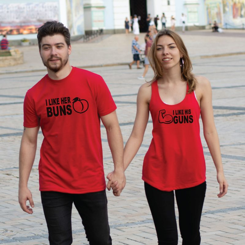 400059 I Like His Guns, I Like Her Buns Matching Couple Shirts, red mix and match ladies tank top and mens t-shirt
