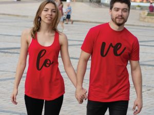 400060 Love Matching Couple Shirts, matching red ladies tank top and mens t-shirt