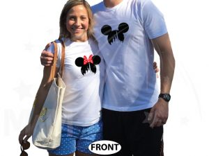 Matching couple shirts for Mr and Mrs with Mickey Minnie Mouse heads with silhouette inside married with mickey white matching t-shirts