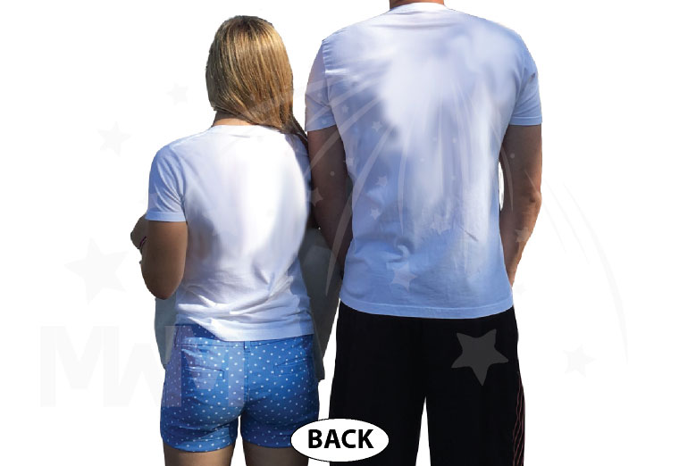 Mickey and Minnie Mouse He's Mine She's Mine with pointing hands white matching t-shirts
