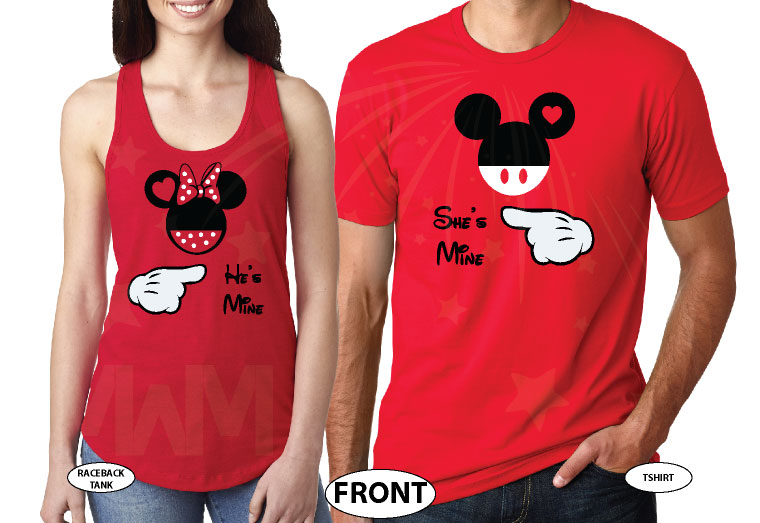 Mickey and Minnie Mouse He's Mine She's Mine with pointing hands white matching t-shirts red mix and match apparel
