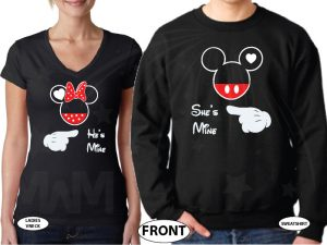 Mickey and Minnie Mouse He's Mine She's Mine with pointing hands white matching t-shirts black ladies vneck mens sweater